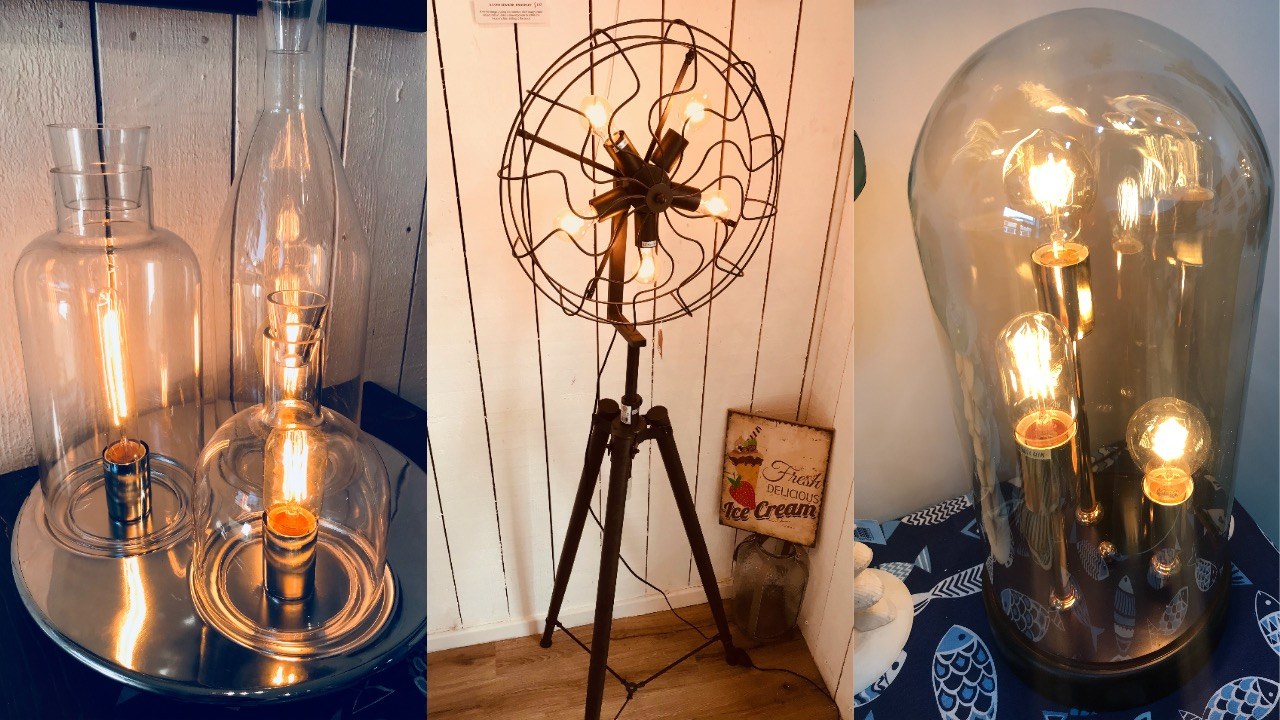 collage of three lamp images